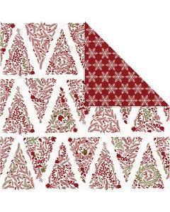 Design-Papier, Weihnachtsbäume / Eissterne , 30,5x30,5 cm, 180 g, Gold, Rot, Weiß, 3 Bl./ 1 Pck.