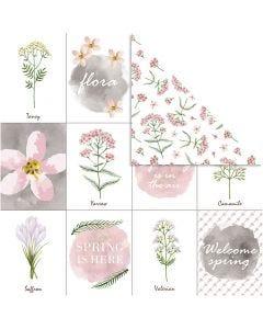 Design-Papier, Blumen, 30,5x30,5 cm, 180 g, 5 Bl./ 1 Pck.