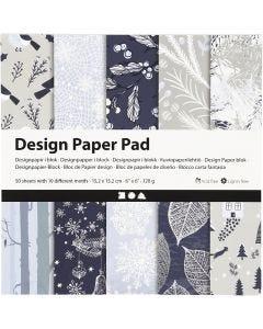 Design-Papier im Block, 15,2x15,2 cm, 120 g, Blau, Grau, 50 Bl./ 1 Pck.