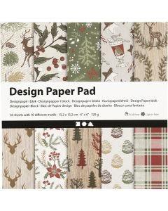 Design-Papier im Block, 15,2x15,2 cm, 120 g, Braun, Rot, 50 Bl./ 1 Pck.