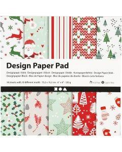 Design-Papier im Block, 15,2x15,2 cm, 120 g, Grün, Rot, Weiß, 50 Bl./ 1 Pck.