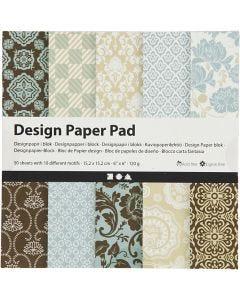 Design-Papier im Block, 15,2x15,2 cm, 120 g, Hellblau, Braun, 50 Bl./ 1 Pck.