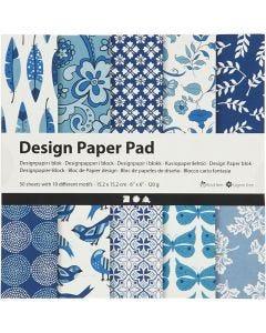 Design-Papier im Block, 15,2x15,2 cm, 120 g, Blau, 50 Bl./ 1 Pck.