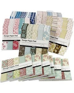Design-Papier im Block, 15,2x15,2 cm, 120 g, Sortierte Farben, 6x10 Stck./ 1 Pck.
