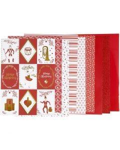 Block mit Design-Papier, Größe 21x30 cm, 120+128 g, Rot, Weiß, 24 Bl./ 1 Pck.