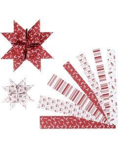 Papierstreifen für Fröbelsterne, L: 44+78 cm, D: 6,5+11,5 cm, B: 15+25 mm, Rot, Weiß, 60 Streifen/ 1 Pck.