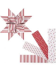 Papierstreifen für Fröbelsterne, L: 100 cm, D: 18 cm, B: 40 mm, Rot, Weiß, 40 Streifen/ 1 Pck.