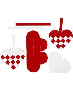 Flechtherzen, Größe 13,5x12,5 cm, Rot, Weiß, 8 Set/ 1 Pck.