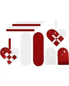 Flechtherzen, Größe 14,5x10 cm, 120+128 g, Rot, Weiß, 8 Set/ 1 Pck.