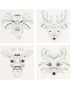 Keilrahmen, bedruckt, Tiere, Größe 20x20 cm, 280 g, Weiß, 4 Stck./ 1 Pck.