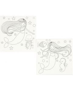 Keilrahmen, bedruckt, Meerjungfrau, Größe 20x20 cm, 280 g, Weiß, 2 Stck./ 1 Pck.