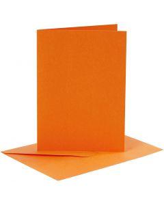 Karten & Kuverts, Kartengröße 10,5x15 cm, Umschlaggröße 11,5x16,5 cm, Orange, 6 Set/ 1 Pck.