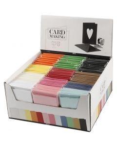 Karten & Kuverts im Set mit Display, Kartengröße 10,5x15 cm, Umschlaggröße 11,5x16,5 cm, Sortierte Farben, 120 Set/ 1 Pck.