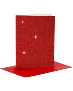 Karten & Kuverts, Kartengröße 10,5x15 cm, Umschlaggröße 11,5x16,5 cm, Glitter, Rot, 4 Set/ 1 Pck.