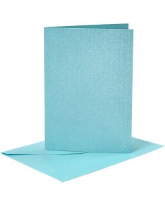 Briefkarte und Briefumschlag, Kartengröße 10,5x15 cm, Umschlaggröße 11,5x16,5 cm, Perlmutt, Blau, 4 Set/ 1 Pck.