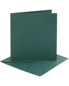 Karten & Kuverts, Kartengröße 15,2x15,2 cm, Umschlaggröße 16x16 cm, 230 g, Dunkelgrün, 4 Set/ 1 Pck.