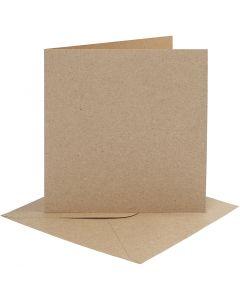 Karten & Kuverts, Kartengröße 15,2x15,2 cm, Umschlaggröße 16x16 cm, 230 g, Natur, 4 Set/ 1 Pck.
