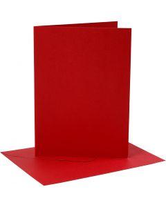 Karten & Kuverts, Kartengröße 12,7x17,8 cm, Umschlaggröße 13,3x18,5 cm, 230 g, Rot, 4 Set/ 1 Pck.