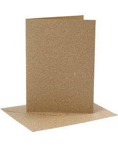 Karten & Kuverts, Kartengröße 12,7x17,8 cm, Umschlaggröße 13,3x18,5 cm, 230 g, Natur, 4 Set/ 1 Pck.