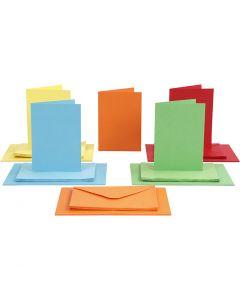 Karten & Kuverts, Kartengröße 10,5x15 cm, Umschlaggröße 11,5x16,5 cm, Sortierte Farben, 50 Set/ 1 Pck.