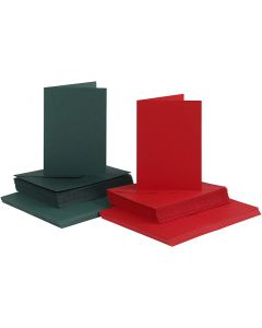 Karten & Kuverts, Kartengröße 10,5x15 cm, Umschlaggröße 11,5x16,5 cm, Grün, Rot, 50 Set/ 1 Pck.