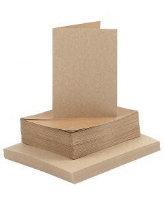 Karten & Kuverts, Kartengröße 10,5x15 cm, Umschlaggröße 11,5x16,5 cm, Natur, 50 Set/ 1 Pck.