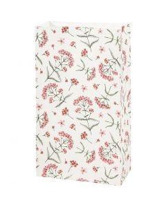 Papiertüten, Blumen, H: 21 cm, Größe 6x12 cm, 80 g, 8 Stck./ 1 Pck.