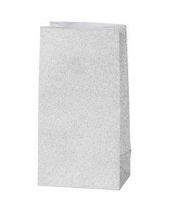 Papiertüten, H: 17 cm, Größe 6x9 cm, 120 g, Silber, 8 Stck./ 1 Pck.