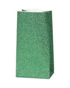 Papiertüten, H: 17 cm, Größe 6x9 cm, 150 g, Grün, 8 Stck./ 1 Pck.