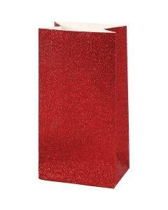Papiertüten, H: 17 cm, Größe 6x9 cm, 200 g, Rot, 8 Stck./ 1 Pck.