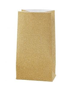 Papiertüten, H: 17 cm, Größe 6x9 cm, 170 g, Gold, 8 Stck./ 1 Pck.