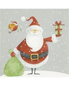 Papierservietten, Weihnachtsmann mit Geschenkesack, Größe 33x33 cm, 20 Stck./ 1 Pck.