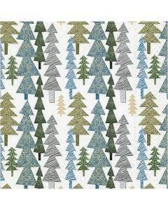 Papierservietten, Moderne Weihnachtsbäume, Größe 33x33 cm, 20 Stck./ 1 Pck.