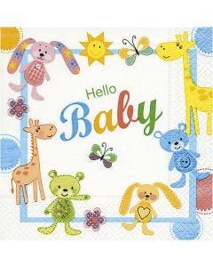 Papierservietten, Hello Baby, Größe 33x33 cm, 20 Stck./ 1 Pck.