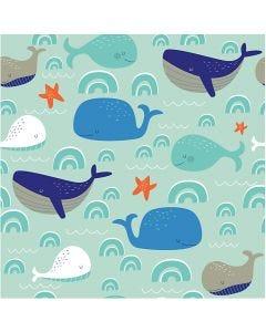 Papierservietten, Lustige Wale, Größe 33x33 cm, 20 Stck./ 1 Pck.
