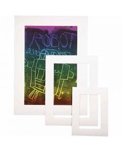 Passepartout-Rahmen, A3,A4,A5, Dicke 0,4 mm, 270 g, Weiß, 75 Stck./ 1 Pck.