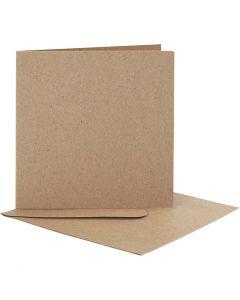 Karten & Kuverts, Kartengröße 12,5x12,5 cm, Umschlaggröße 13,5x13,5 cm, Natur, 10 Set/ 1 Pck.