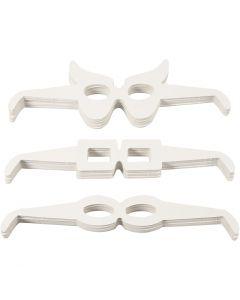 Brillen, H: 4,5-10 cm, L: 32 cm, 230 g, Weiß, 160 Stck./ 1 Pck.
