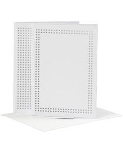 Karten zum Besticken, Kartengröße 10,5x15 cm, Umschlaggröße 11,5x16,5 cm, Weiß, 6 Stck./ 1 Pck.