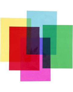 Cellophan, 210x297 mm, Sortierte Farben, 5x20 Bl./ 1 Pck.