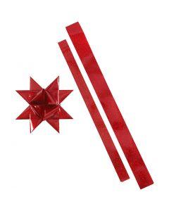 Folienstreifen für Fröbelsterne, L: 86+100 cm, B: 25+40 mm, D: 11,5+18,5 cm, Rot, Rot mit Glitter, 16 Streifen/ 1 Pck.
