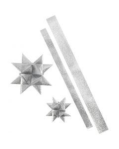 Folienstreifen für Fröbelsterne, L: 86+100 cm, B: 25+40 mm, D: 11,5+18,5 cm, Glitter silber, 16 Streifen/ 1 Pck.