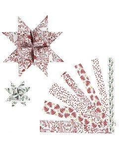 Papierstreifen für Fröbelsterne, L: 44+78 cm, B: 15+25 mm, D: 6,5+11,5 cm, Rot, Weiß, 48 Streifen/ 1 Pck.