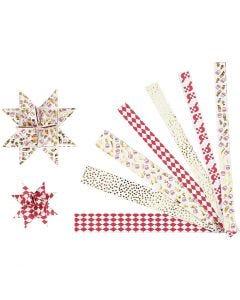 Papierstreifen für Fröbelsterne, L: 44+78 cm, D: 6,5+11,5 cm, B: 15x25 mm, Gold, Rot, Weiß, 48 Streifen/ 1 Pck.