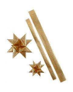 Folienstreifen für Fröbelsterne, L: 86+100 cm, B: 25+40 mm, D: 11,5+18,5 cm, Gold mit Glitter, 16 Streifen/ 1 Pck.