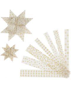 Papierstreifen für Fröbelsterne, L: 44+78 cm, D: 6,5+11,5 cm, B: 15+25 mm, Gold, Weiß, 48 Streifen/ 1 Pck.