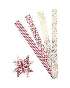 Papierstreifen für Fröbelsterne, L: 100 cm, D: 18 cm, B: 40 mm, Gold, Rot, Weiß, 40 Streifen/ 1 Pck.