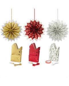 Sterne aus Papiertüten, Gold, Grün, Rot, Weiß, 3x10 Pck./ 1 Pck.