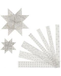 Papierstreifen für Fröbelsterne, L: 44+78 cm, B: 15+25 mm, D: 6,5+11,5 cm, Silber, Weiß, 48 Streifen/ 1 Pck.