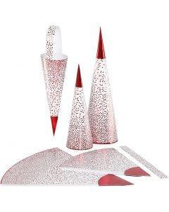Spitztüten, H: 18+28 cm, 120 g, Rot, Weiß, 3 Stck./ 1 Pck.